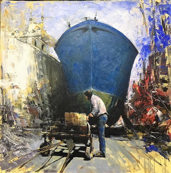 A. Patrisi Working in a shipyard cm 100x100